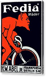 1920 Devil Riding A Bicycle Acrylic Print by Historic Image