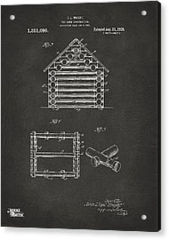 1920 Lincoln Log Cabin Patent Artwork - Gray Acrylic Print by Nikki Marie Smith