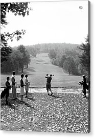 1920s 1930s Group Of Golfers Teeing Acrylic Print