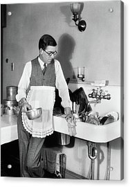 1920s Man In Apron Leaning On Sink Full Acrylic Print