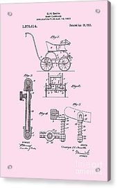 1921 Baby Carriage Pink Patent Art Acrylic Print by Lesa Fine