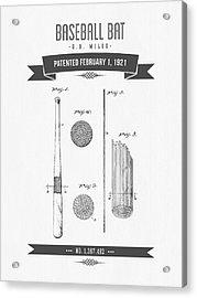1921 Baseball Bat Patent Drawing Acrylic Print by Aged Pixel