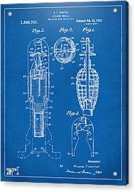 1921 Explosive Missle Patent Blueprint Acrylic Print by Nikki Marie Smith