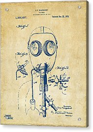 1921 Gas Mask Patent Artwork - Vintage Acrylic Print