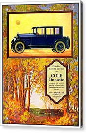 1923 - Cole Brouette Automobile Advertisement - Color Acrylic Print