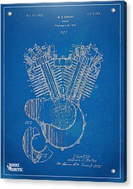 Acrylic Print featuring the digital art 1923 Harley Davidson Engine Patent Artwork - Blueprint by Nikki Smith