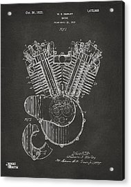 1923 Harley Engine Patent Art - Gray Acrylic Print by Nikki Marie Smith