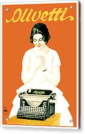 1924 - Olivetti Typewriter Advertisement Poster - Color Acrylic Print by John Madison