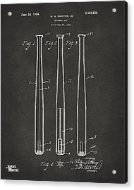 1924 Baseball Bat Patent Artwork - Gray Acrylic Print