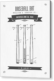 1924 Baseball Bat Patent Drawing Acrylic Print