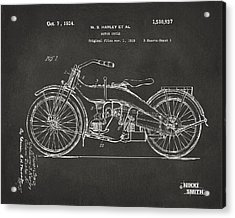 1924 Harley Motorcycle Patent Artwork - Gray Acrylic Print