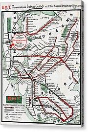 1924 Map Brooklyn Manhattan Transit Acrylic Print by BMT Lines