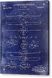 1924 Propeller Patent Drawing Blue Acrylic Print by Jon Neidert