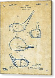 1926 Golf Club Patent Artwork - Vintage Acrylic Print by Nikki Marie Smith