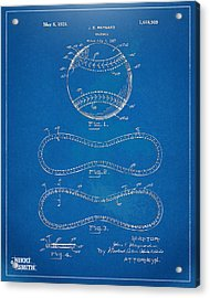1928 Baseball Patent Artwork - Blueprint Acrylic Print
