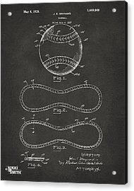 1928 Baseball Patent Artwork - Gray Acrylic Print