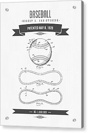 1928 Baseball Patent Drawing Acrylic Print by Aged Pixel