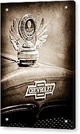 1928 Chevrolet Stake Bed Pickup Hood Ornament - Emblem Acrylic Print by Jill Reger