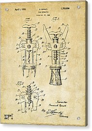1928 Cork Extractor Patent Art - Vintage Black Acrylic Print by Nikki Marie Smith