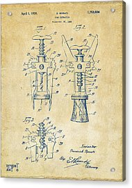 1928 Cork Extractor Patent Artwork - Vintage Acrylic Print by Nikki Marie Smith
