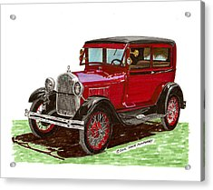 1928 Ford Model A Two Door Acrylic Print by Jack Pumphrey