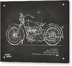 1928 Harley Motorcycle Patent Artwork - Gray Acrylic Print