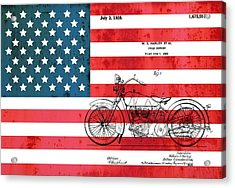 1928 Harley Patent American Flag Acrylic Print by Dan Sproul