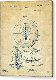 1928 Soccer Ball Lacing Patent Artwork - Vintage Acrylic Print