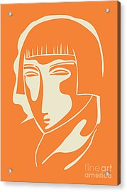 1928 Woman Face   Orange Acrylic Print