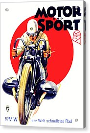 1929 - Bmw Motorcycle Poster - Color Acrylic Print