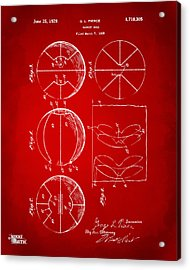 1929 Basketball Patent Artwork - Red Acrylic Print by Nikki Marie Smith