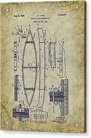 1929 Canoe Construction Patent Art Acrylic Print by Barry Jones