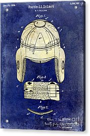 1929 Football Helmet Patent Drawing 2 Tone Blue Acrylic Print by Jon Neidert