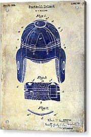1929 Football Helmet Patent Drawing 2 Tone Acrylic Print by Jon Neidert