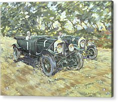 1929 Le Mans Winning Bentleys Acrylic Print by Clive Metcalfe