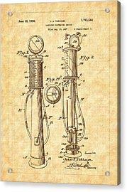 1930 Classic Gas Pump Patent - Automotive - Historical Acrylic Print