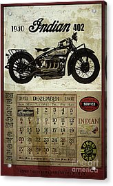 1930 Indian 402 Acrylic Print by Cinema Photography