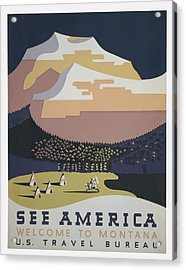 Acrylic Print featuring the painting 1930 See America by American Classic Art
