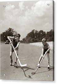 1930s 1940s 2 Boys With Sticks And Puck Acrylic Print