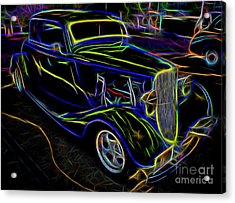 1930s Ford Coupe Neon Abstract Acrylic Print by Gary Whitton
