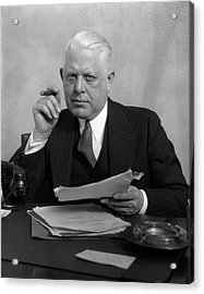 1930s Man In Office Sitting At Desk Acrylic Print