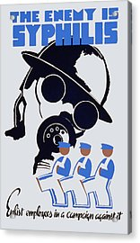 Acrylic Print featuring the painting 1930's The Enemy Is Syphilis by American Classic Art