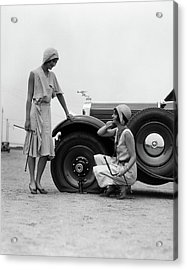 1930s Two Women Confront An Automobile Acrylic Print