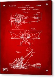1931 Aircraft Emergency Floatation Patent Red Acrylic Print by Nikki Marie Smith
