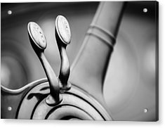 1931 Lincoln K Steering Wheel - Spark - Gas Controls -1865bw Acrylic Print by Jill Reger