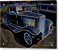 1932 Nash Coupe Antique Car - Neon Acrylic Print