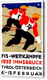 1933 Austrian Ski Race Poster Acrylic Print by Historic Image