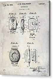 1933 Watch Case Patent Drawing  Acrylic Print by Jon Neidert