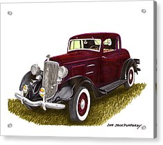 1934 Plymouth P E Coupe Acrylic Print by Jack Pumphrey