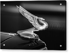 1935 Chevrolet Sedan Hood Ornament -479bw Acrylic Print by Jill Reger